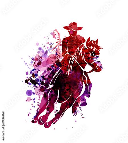 In de dag Art Studio Vector watercolor silhouette of cowboy on a horse