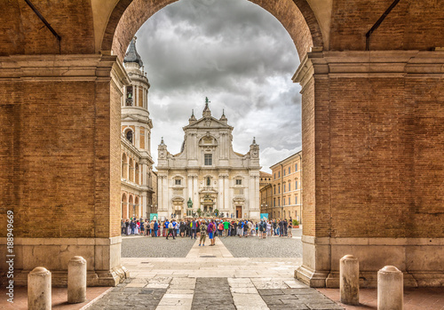 Photo Sanctuary of the Holy House of Loreto, Marches, Italy, the Basilica facade with