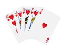 Hearts Royal Flush Poker Cards...