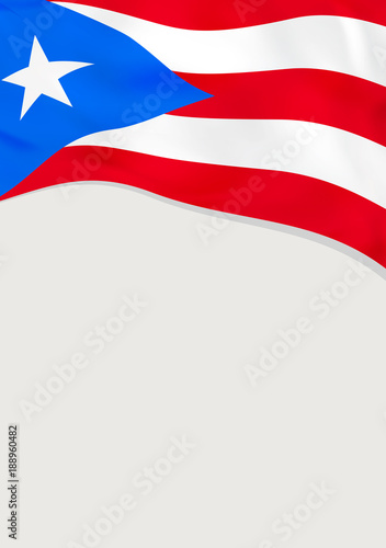 Leaflet design with flag of Puerto Rico  Vector template
