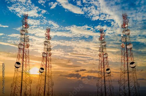 Telecommunication tower antenna in morning sky Evening sky
