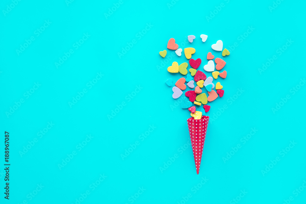Fototapety, obrazy: Colorful heart shape on blue  background.love, valentine,wedding concepts