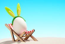 Egg In Lounger On Beach