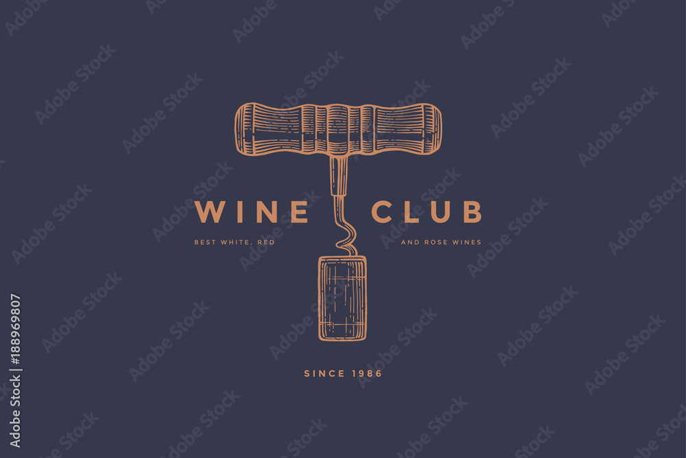 Fototapeta Logo template of wine club with image corkscrew and wine cork on dark blue background. Vector design element for wine store, menu, brand and identity.