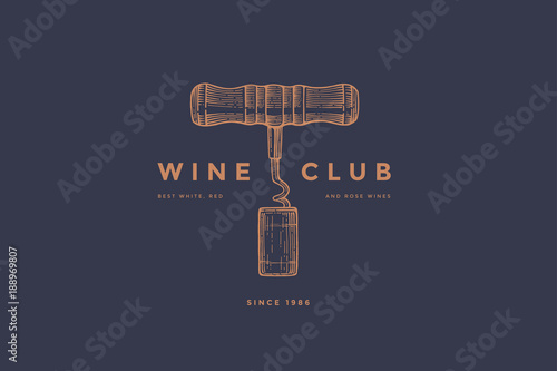 Fotografija Logo template of wine club with image corkscrew and wine cork on dark blue background
