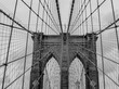 close up view of Brooklyn Bridge in black and white color