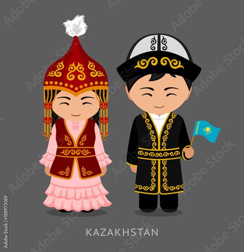 Fotografie, Obraz  Kazakhs in national dress with a flag