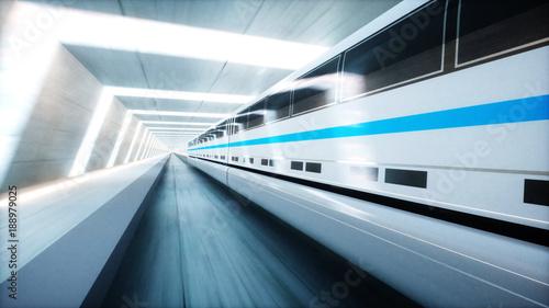 futuristic modern train, monorail fast driving in sci fi