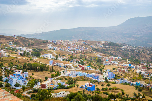 In de dag Centraal Europa Aerial view of blue medina of city Chefchaouen, Morocco, Africa.
