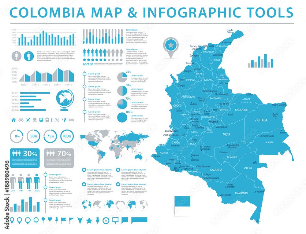 Fotografie, Obraz  Colombia Map - Info Graphic Vector Illustration