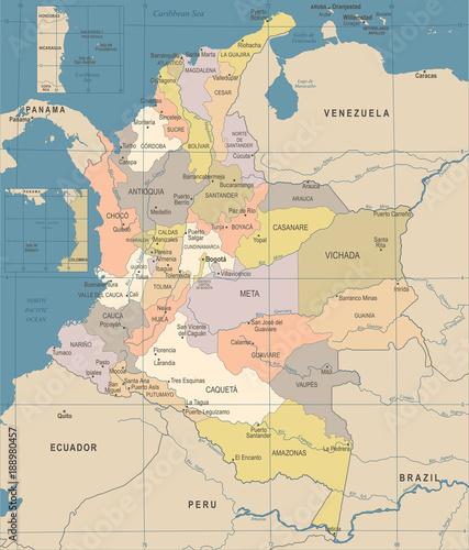 Fotografie, Obraz  Colombia Map - Vintage Detailed Vector Illustration