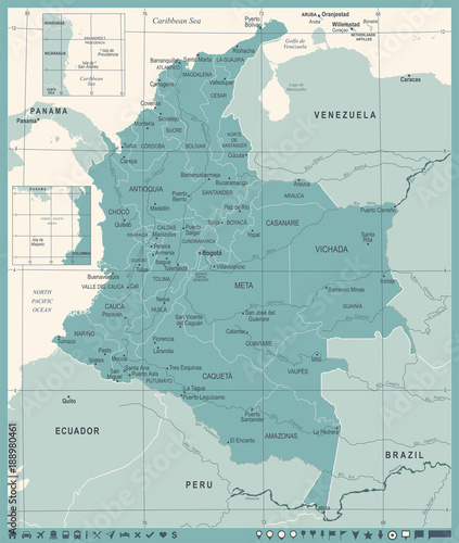Fotografia  Colombia Map - Vintage Detailed Vector Illustration