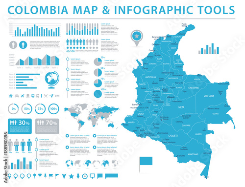 Colombia Map - Info Graphic Vector Illustration Tablou Canvas
