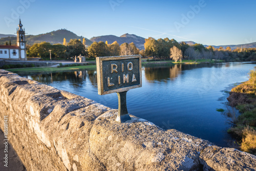 Fotografie, Obraz  Roman bridge in Ponte de Lima, small town in historical Minho Province, Portugal