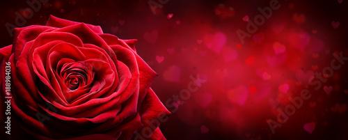 Plakat Valentine Card - Red Rose Kształt Serca W Romantycznym Tle