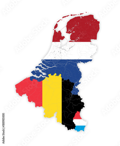 Photo Map of BeNeLux countries with rivers and lakes in colors of the national flags