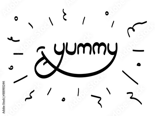Fotografie, Obraz  Yummy word inscription Vector lettering with tongue lick