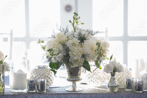 white rose centerpiece elegant lily of the valley