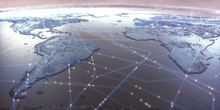 World Map With Satellite Data ...