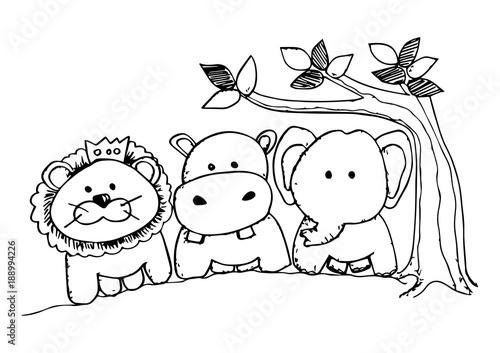 Tuinposter Doe het zelf Cartoon animal with lion, elephant, hippo