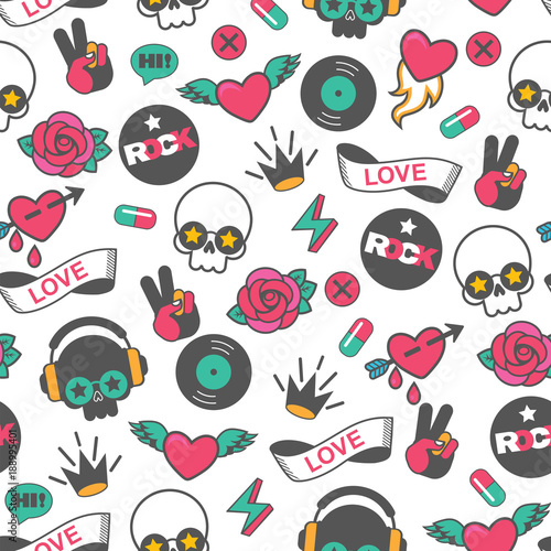 Fototapeta seamless vector rock pattern with skull and heart