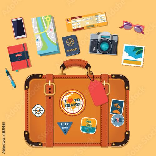 set of vector travel icons with retro travel suitcase © iuliia