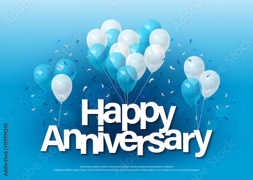 Fotografie, Obraz happy anniversary greeting card lettering template with balloon and confetti
