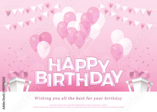 Happy Birthday Pink Greeting Card Lettering Template With
