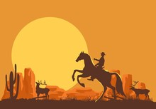 Cowboy On Horse Vector Silhouette On Wild West Background, Cactus Desert.
