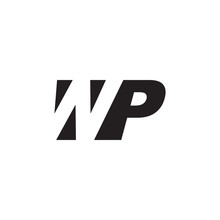 Initial Letter WP, Negative Space Logo, Simple Black Color