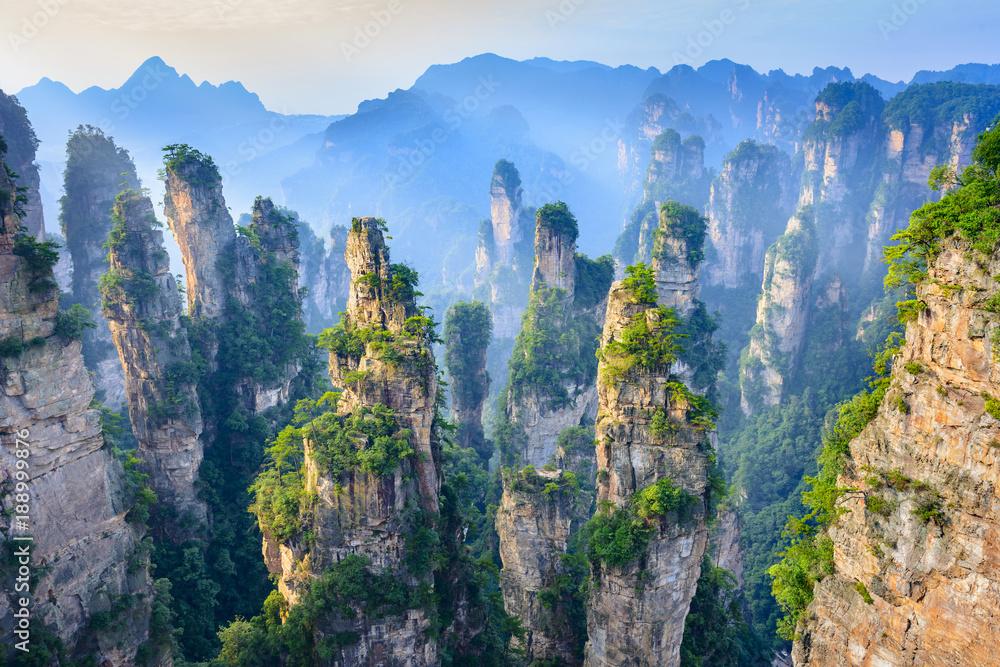 Fototapety, obrazy: Landscape of Zhangjiajie. Located in Wulingyuan Scenic and Historic Interest Area (Wu Ling Yuan Feng Jing Ming Sheng Qu), Hunan, china.