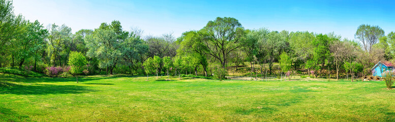 Park in early spring. Located in Shenyang Botanical Garden, Shenyang, Liaoning, China.