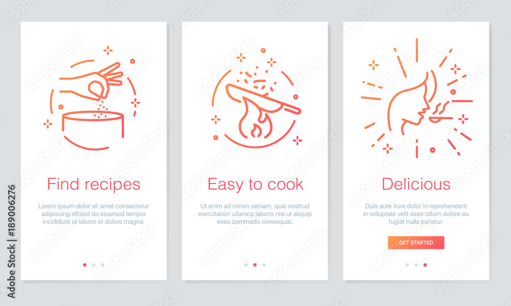 Fototapeta Food and Recipes concept onboarding app screens. Modern and simplified vector illustration walkthrough screens template for mobile apps.