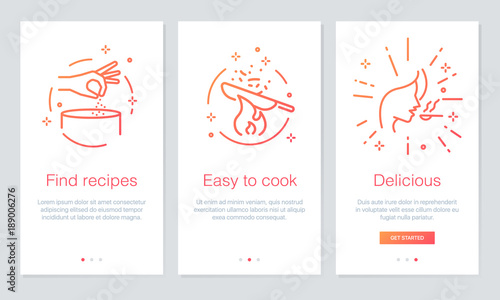 Fototapeta Food and Recipes concept onboarding app screens. Modern and simplified vector illustration walkthrough screens template for mobile apps. obraz