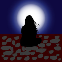 Illustration, Girl With Flowing Hair, Sits And Looks At The Moon, Silhouette On A Night Background,