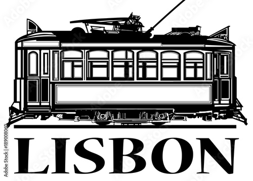 Fotobehang Art Studio Old classic tramway of Lisbon