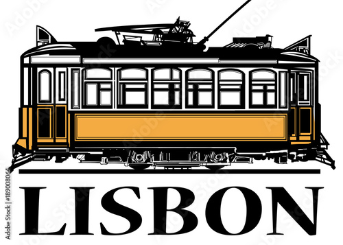 Fotobehang Art Studio Old classic yellow tram of Lisbon