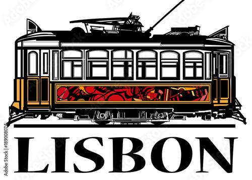 Fotobehang Art Studio Old classic yellow tram of Lisbon