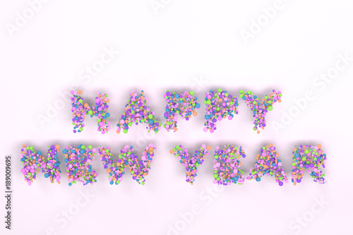 Happy New Year words from colorful balls on white background - Buy ...