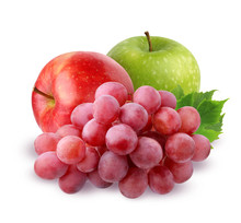 Two Apple And Grapes  Isolated...