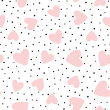 Repeated hearts and polka dot. Cute romantic seamless pattern. - 189012690