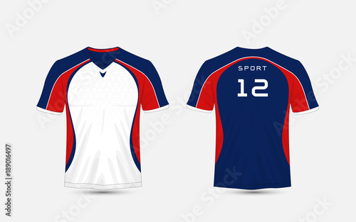 063af9b90d White, blue and red stripe pattern sport football kits, jersey, t-shirt.  Transferred. Pending