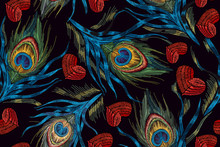 Embroidery Peacock Feathers And Hearts Seamless Pattern. Symbol Of Love, Passion. Classical Fashionable Embroidery Beautiful Peacocks Feathers And Red Heart. Fashionable Template Design Of Clothes