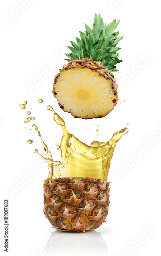 Fotografie, Obraz  Fresh ripe flying cut pineapple with juice splash for healthy nutrition