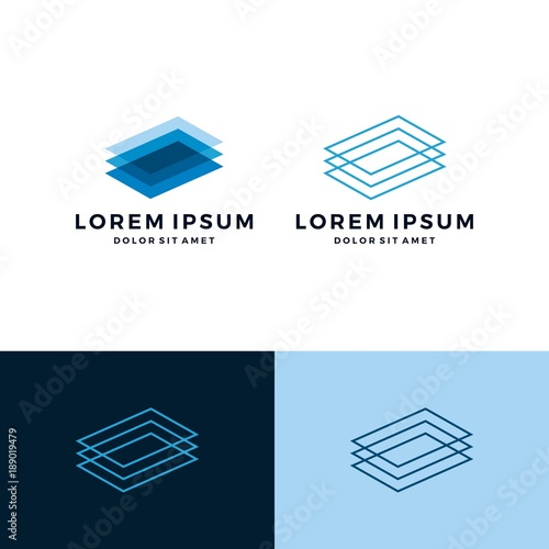 Fotografie, Obraz  rectangle transparent outline line art logo vector