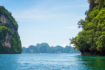 islands, rocks, green mountains and the sea with clear water - scenic landscapes of Thailand