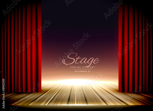 theater stage with red curtains and wooden floor