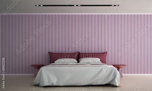 The interior design of bedroom and pink color pattern wall ...