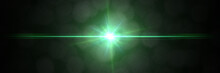 Intense Green Lens Flare Effect Overlay Texture Banner With Bokeh Effect In Front Of A Black Background