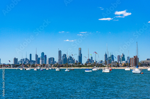 Recess Fitting Dubai Spectacular Melbourne cityscape with kite surfers and yachts on St. Kilda beach